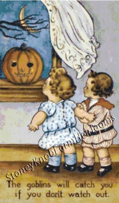 The Goblins Might Catch You ~ Vintage Halloween ~ Counted X Cross Stitch Pattern #StoneyKnobFarmHeirlooms #CountedCrossStitch