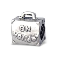 Silvadore - Silver Bead – On Holiday Suitcase Luggage Bag Bead - 925 Sterling Charm 3D Slide On - Fits Pandora European Bracelet - Free Gift Boxed * For more information, visit image link. #Charms