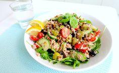 Gezonde Lunch Salade Tonijn, Linzen en Olijven