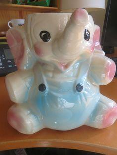 #gotvintage 1950s Elephant USA Made Cookie Jar Pastel Pink and Blue