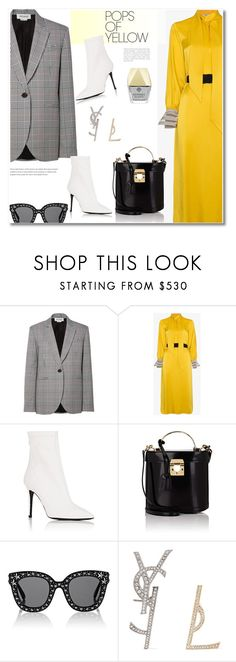 """Get the look Pop of Yellow"" by vkmd ❤ liked on Polyvore featuring Monse, Fendi, Barneys New York, Mark Cross, Gucci, Yves Saint Laurent, Kendra Scott, PopsOfYellow and NYFWYellow"