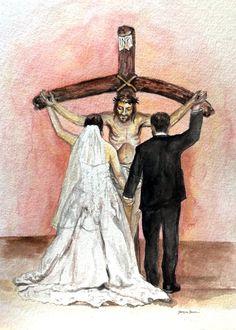 Catholic Marriage, Marriage Gifts, Catholic Wedding, Catholic Art, Religious Art, Godly Marriage, Marriage Advice, Christian Paintings, Christian Art
