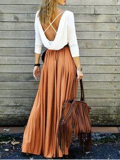 $21.99 Spliced Back Criss-Cross Maxi Dress - ORANGE M