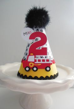 Lil' Red Firetruck Birthday Party Hat - Black, Red and Yellow - Personalized