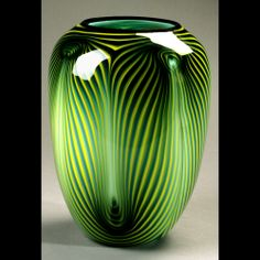 Dehanna Jones Glass Artist Green Feather Vase