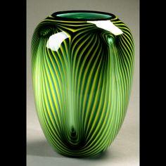 Dehanna Jones Glass Artist Green Feather Vase