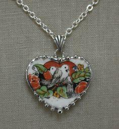 Broken China Jewelry Two Little Lovebirds Heart by robinsrelics, $42.00