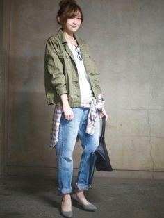 プチプラのあやさんのミリタリージャケット「niko and... Cダンプミリジャケット【niko and...】」を使ったコーディネート