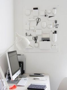 The smaller your home office is, the more efficient organization and storage should be. We've gathered creative ideas to design home office wall storage. Home Office Design, Home Office Decor, Home Decor, Office Ideas, Workspace Inspiration, Room Inspiration, Scandinavia Design, Office Supply Organization, Wall Organization