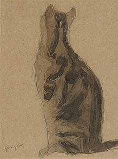 Tortoiseshell cat (study) |  pencil and watercolor painting | Gwen John