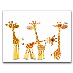 Cute and Whimsical Cartoon Giraffes: The Herd mousepad Giraffe Decor, Giraffe Art, Elephant, Cute Giraffe Drawing, Beautiful Creatures, Animals Beautiful, Cute Animals, Group Of Giraffes, Cartoon Giraffe