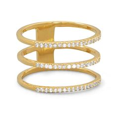 14 Karat Gold Plated Triple Row CZ Ring
