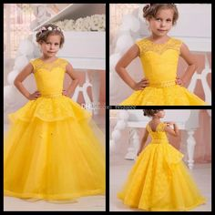 Bright Yellow Flower Girl Dress Pageant Ball Gowns For Girls Lace Pearls Holy Communion Dresses For Weddings 2017 Organza Flower Girl Dresses Girl Dresses From Bridalee, $72.57| Dhgate.Com