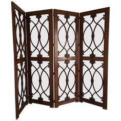 palisander and glass screen or room divider