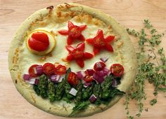 Garden Pizza with Mozzarella, Asparagus, Peppers, Tomatoes, Mixed Greens | Eatright Art