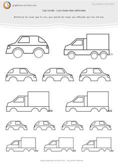 PDF fiche de Graphisme MS Les ronds – Activité graphique Maternelle Moyenne Section sur le rond. Dessiner les roues des voitures - Progression Graphisme.