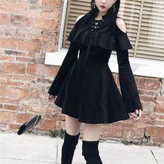 Gothic Lace Up Collar Cold Shoulder Flare Sleeve Dress Punk Dress, Gothic Dress, Gothic Outfits, Edgy Outfits, Cute Outfits, Fashion Outfits, Fashion 2018, Kawaii Fashion, Lolita Fashion
