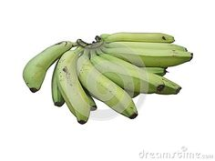 Photo about Green Banana bunch on white background isolated. Image of farming, cardaba, bananasfruit - 101222976 Banana Fruit, Green Banana, Banana Recipes, Stock Photos