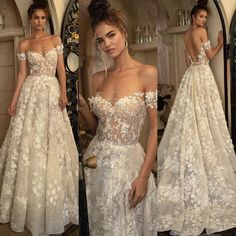 Berta Bridal Spring 2019 Collection featuring style o… Floral Beauty! Berta Bridal Spring 2019 Collection featuring style off-shoulder neckline ballgown with hand-crafted floral appliqués! 2016 Wedding Dresses, Wedding Dress Trends, Bridal Outfits, Bridal Dresses, Wedding Gowns, Wedding Ideas, Vestidos Estilo Boho, Berta Bridal, Bridal Beauty