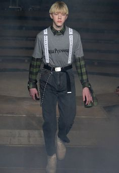 Russian streetwear designer Gosha Rubchinskiy unveils the catwalk presentation for his Fall/Winter 2016 at Paris Fashion Week.