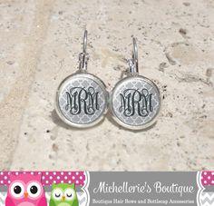 Silver Gray Quatrefoil Monogram Earrings by MichelleriesBoutique, $7.75