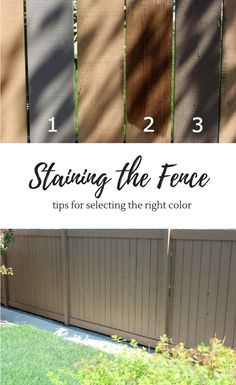 Orange Fence is Gone! Staining the Fence - Tips for Selecting the Right Color - Grey Brown Fence StainStaining the Fence - Tips for Selecting the Right Color - Grey Brown Fence Stain Cedar Fence Stain, Staining Wood Fence, Painted Wood Fence, Wood Fence Design, Fence Paint Colours, Deck Stain Colors, Deck Colors, Garden Fence Paint, Grey Fences