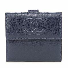 "Chanel Dark Blue Caviar Leather Signature ""CC"" Compact Wallet - $449.99"
