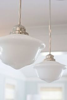 14-inch Chrome Schoolhouse pendants, perfect over a large kitchen island.