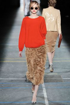 Dries Van Noten Fall 2009 shades of Francis Bacon's paintings—shrimp pink, beige, ocher, orange, and mauve