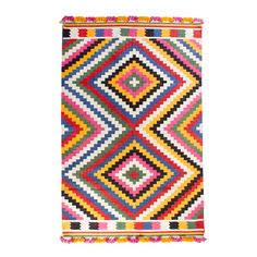 ARRO Home: 100% cotton multi-colour woven rug with tassel trim.