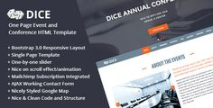 Dice : One Page Event and Conference HTML Template #Box, #Clean, #Conference, #Event, #Expo, #Mailchimp, #Metro, #Modern, #Schedule, #Seminars, #Speaker, #Sponsor, #Theweblab, #Timeline, #Venue, #Workshop http://goo.gl/z5BpFv
