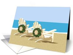 Beach chairs with Wreaths | General Christmas | Greeting Card Universe by Elaine Plesser