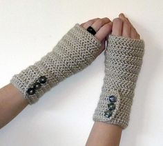 Long Crochet Arm Warmers PDF PATTERN - Button up Fingerless Gloves - Hobo Gloves - Texting Gloves