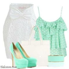 2014 Easter outfit If only it wasn't polka dots Modest Fashion, Fashion Outfits, Womens Fashion, Fashion Sets, Summer Fashion Trends, Spring Fashion, Easter Outfit, Daily Look, Cute Tops