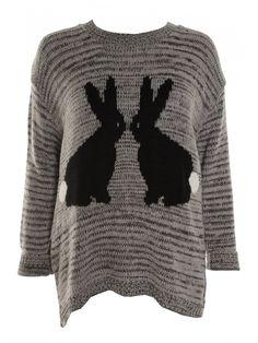 Grey Rabbit Print Oversized Knitted Jumper
