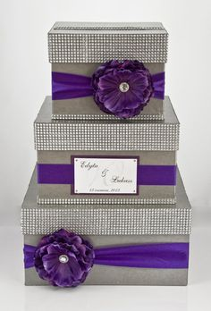 wedding card boxes for receptions | tier wedding card box - purple | Wedding reception decor and ideas