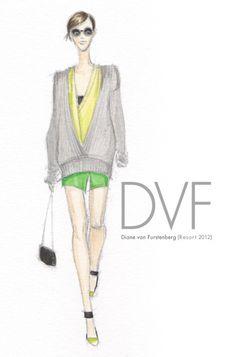 Diane Von Furstenberg Resort 2012, image by Sketch & Pixel
