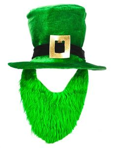 St. Patricks Day Costume Green Leprechaun Top Hat And Beard 7a172dcf998b