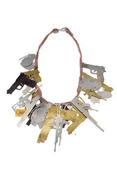 """Malaika Najem - """"A long way gone"""". Necklace. Pink fabric, aluminium, iron, shibuichi, brass."""