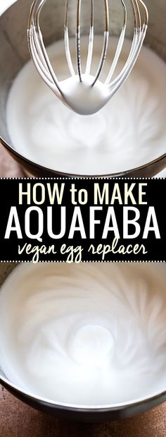 Aquafaba is the new trend in Vegan baking and Egg Free baking. It's easy, healthy, and versatile! You can whip it up to use in place of egg whites, or just use the juice (Chickpea brine) for whole egg baking. Learn how to make Aquafaba with just a can of Vegan Sweets, Vegan Desserts, Vegan Recipes, Vegan Sauces, Vegan Dishes, Vegan Food, Free Recipes, Dessert Recipes, How To Make Aquafaba
