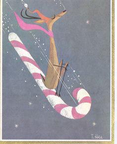 #Antlers Vintage Christmas Greeting Card Reindeer sledding on Candy Cane by artist T Hee | eBay