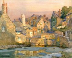 The Athenaeum - Evening, The Mill Pool, Swanage (Albert Moulton Foweraker - )(July 7, 1873 - January, 1942)