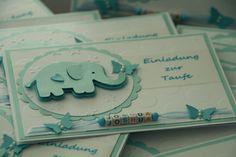 Einladungskarten - Einladungskarte Personalisiert Taufe Junge - ein Designerstück von EvasCardArt bei DaWanda Stamping Up, Baby Cards, Christening, Baby Boy, Baby Shower, Etsy, Card Crafts, Babys, Paper