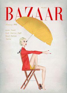 Harpers Bazaar January 1952 Vintage Magazine Cover