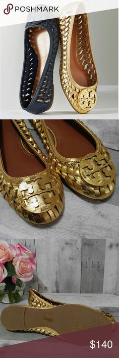 New Gold Tory Burch Huarache Ballet Flat