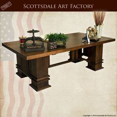 Arts  Crafts Desk Custom Office Furniture Frank Lloyd Wright inspired design solid wood Wood Executive MLOD562C