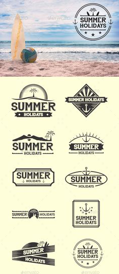 Retro Summer Badges Template #design Download: http://graphicriver.net/item/retro-summer-badges/12430984?ref=ksioks