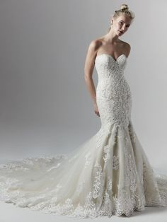 Delicate beaded motifs appliquéd over a layer of shimmering sequined tulle adorn this mermaid wedding dress with sweetheart neckline. Completed with a beautiful regal hemline. Finished with covered… Western Wedding Dresses, Sexy Wedding Dresses, Designer Wedding Dresses, Bridal Dresses, Wedding Gowns, Lace Wedding, Dream Wedding, Maggie Sottero, Ball Gown Wedding