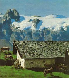 Alfons Walde - Almen und Firn (1935) Mountain Paintings, Bergen, Magic, Fine Art, Artist, Paintings, Vintage Travel, Bavaria, Culture