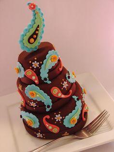 paisley topsy turvy mini cake